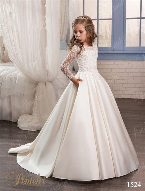 pink ivory flower girl dresses  weddings long