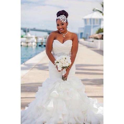 stunning mermaid organza plus size wedding dresses ruffles