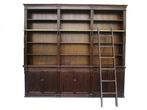 bookshelf with ladder brown large bookcase with ladder sd 108 1