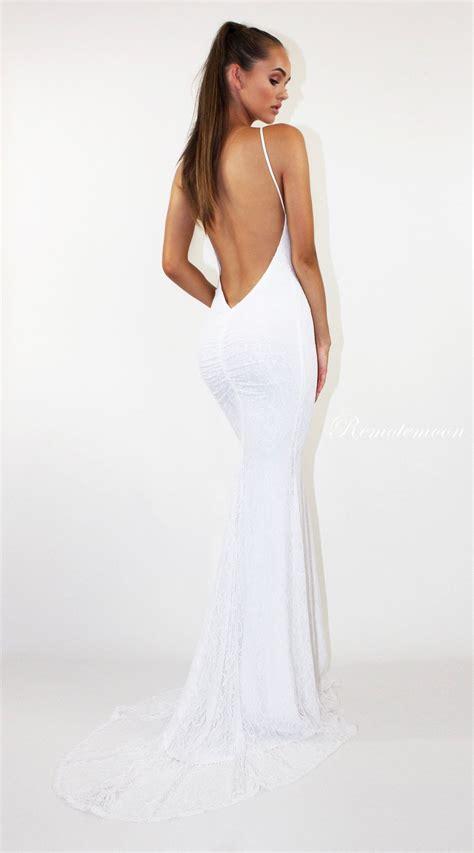 white lace backless mermaid wedding dress halter neckline