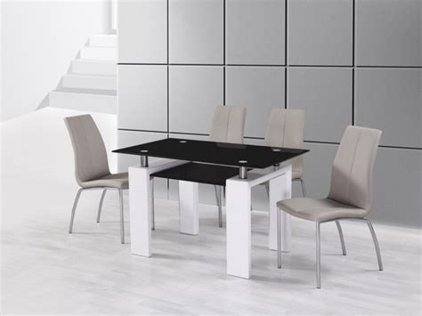 white high gloss black glass dining table and 4 mink grey