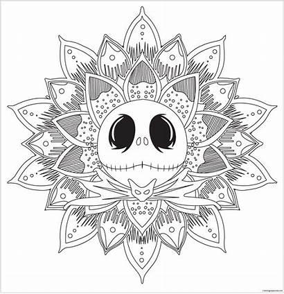 Skellington Jack Coloring Mandala Pages Christmas Nightmare
