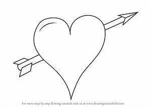 Step by Step How to Draw Heart with Arrow ...