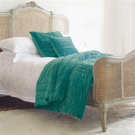 blue scrunched velvet quilt