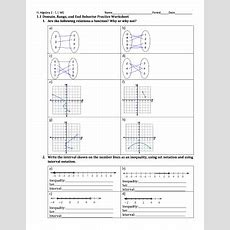 Fillable Online 11 Domain, Range, And End Behavior Practice Worksheet 1 Are  Fax Email
