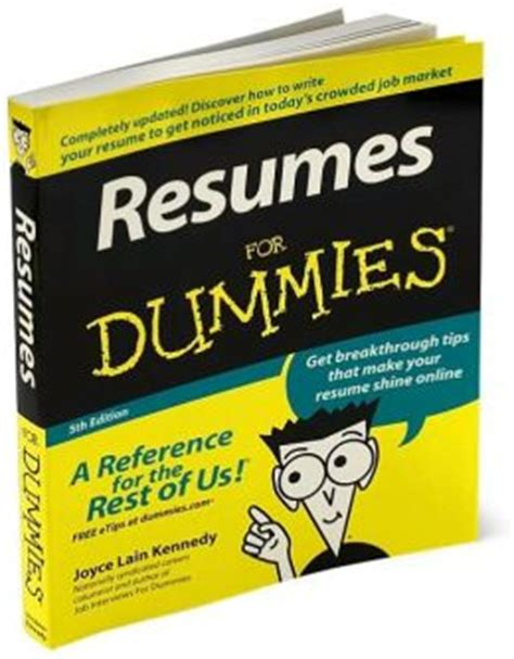 resumes for dummies edition 5 by kennedy 9780470080375