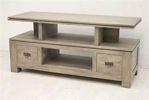 Meuble Tv Bois Gris : meuble tv de rangement belle pi ce en bois massif de la collection quixa ~ Teatrodelosmanantiales.com Idées de Décoration