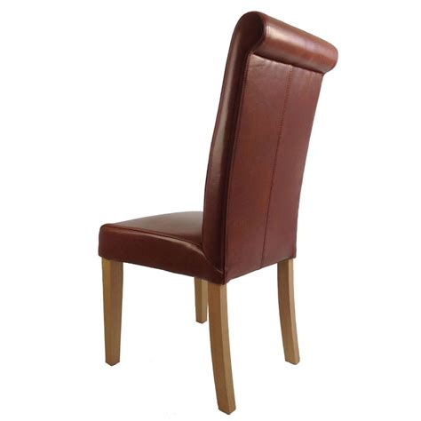 alder tan brown full leather dining chair