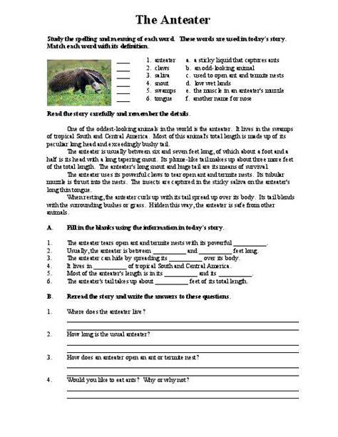 reading comprehension middle school worksheets worksheets