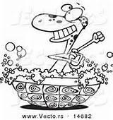 Outline Turtle Cartoon Coloring Shell Bathing Bathtub Vector Tub Suds Royalty Designs sketch template