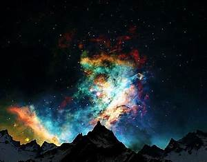 galaxy, mountains, nebula, night, sky - image #216311 on ...