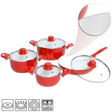 batterie cuisine ceramique 8pcs batterie de cuisine kit casseroles poêle céramique