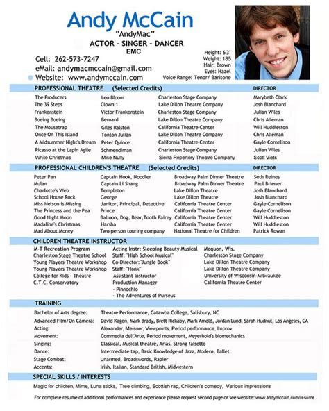 pin  topresumes  latest resume acting resume acting