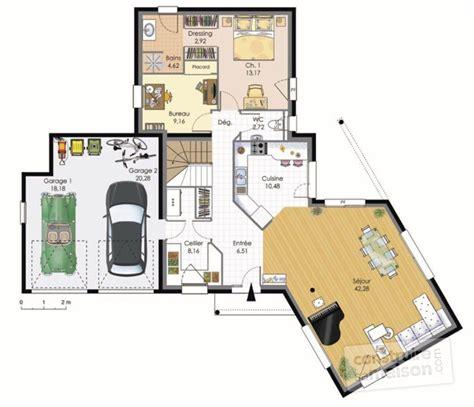 bureau bibliothèque intégré maison contemporaine dé du plan de maison