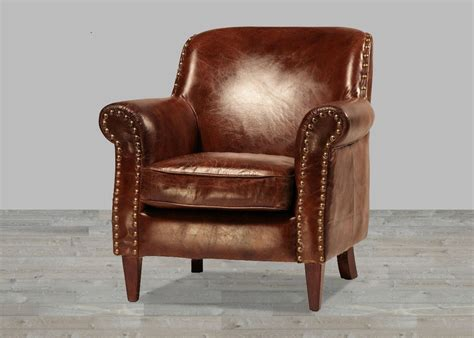Hand Finished Vintage Leather Club Chair With Antique