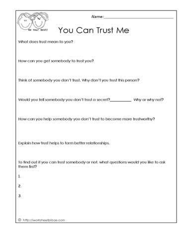 trust worksheet  images adolescent therapy