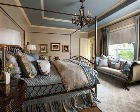 blue  beige master bedroom traditional bedroom