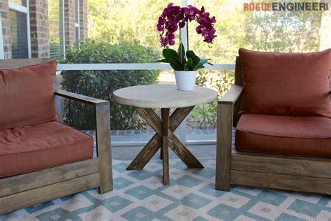 diy  brace side table  concrete top  easy plans