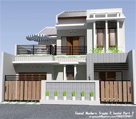 desain fasad rumah  lantai modern tropis part