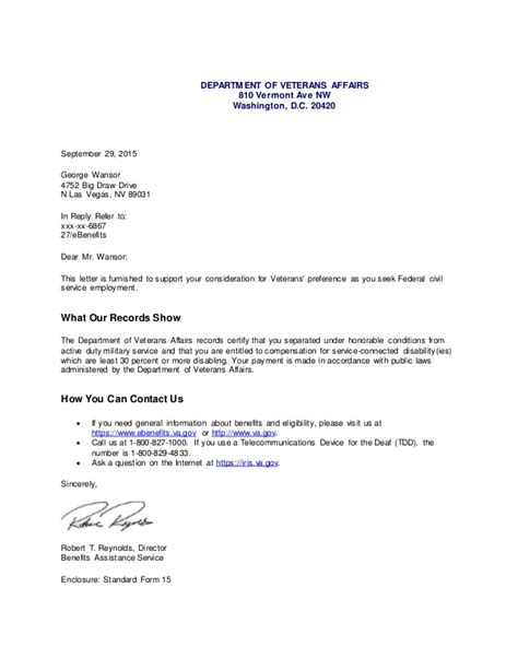 agreement letter va compensation disability letter 1 20420 | va compensation disability letter 1 1 638