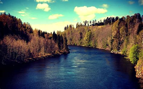 river, Sundsvall, Water, Mountain, Landscape, Trees ...