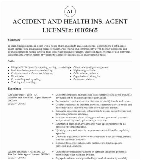 Sell marketplace health insurance for 2019. ACCIDENT AND HEALTH INSURANCE LICENSE Resume Example BENEFITS AGENT COLONIAL LIFE INSURANCE ...
