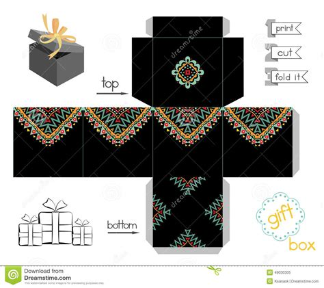 batman gift box template printable gift box with abstract mexican pattern stock