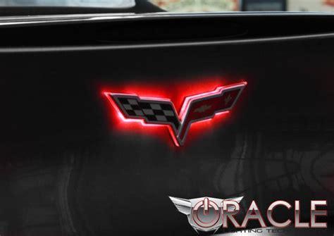corvette illuminated lighted crossed flag emblem