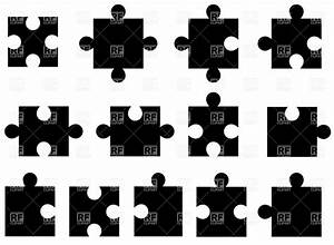 Set of puzzle pieces silhouettes, 34669, Design elements ...