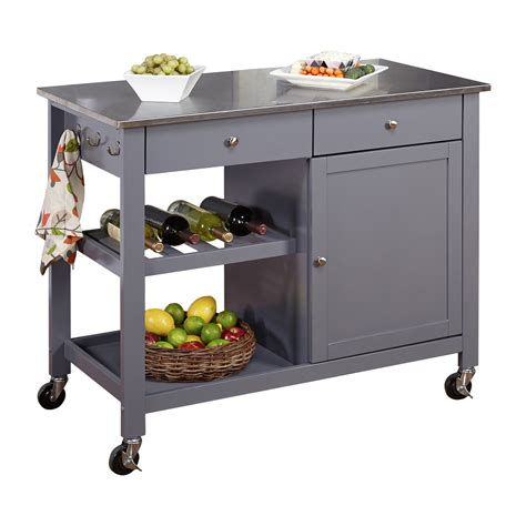 kitchen islands stainless steel top tms columbus kitchen island with stainless steel top reviews wayfair
