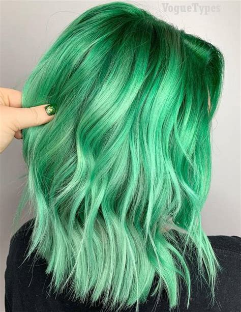 trendy green hair color ideas styles   voguetypes