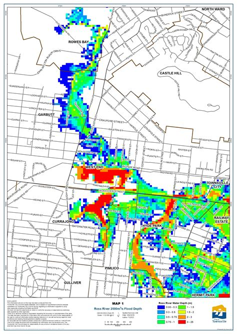 map  potential inundated properties townsville city