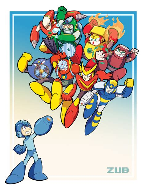 Zubs Mega Man Tribute Pin Up By Zubby On Deviantart