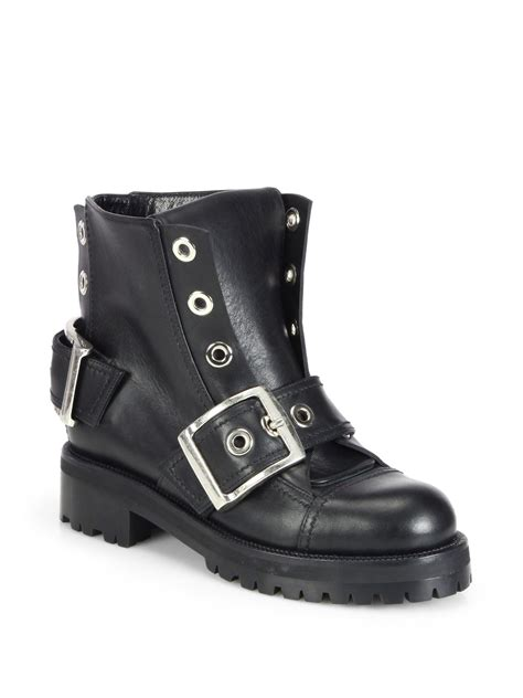 biker ankle boots alexander mcqueen biker leather ankle boots in black lyst
