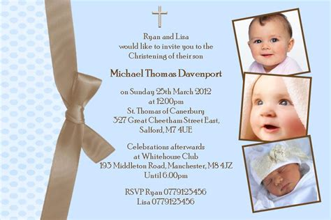 Personalised Boy Photo Christening Invitations Design 4