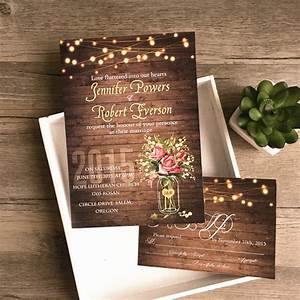 Flower mason jar string lights rustic invitations iwi348 for Rustic mason jar wedding invitations with lights