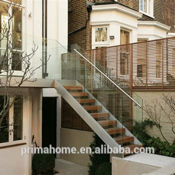 steel and wood staircase outdoor tempered glass railing wooden treads stairs design