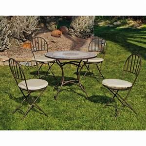 Table Fer Forgé Jardin : table de jardin mosaique et 4 chaises en fer forg jardin et saisons ~ Teatrodelosmanantiales.com Idées de Décoration