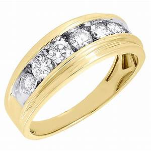 10k mens yellow gold 7 stone diamond engagement ring With gold ring wedding band