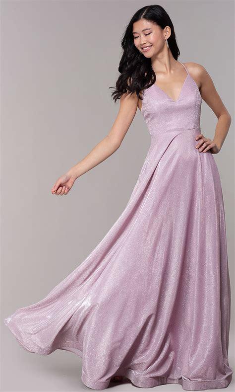 Long Iridescent-Glitter V-Neck Pink Prom Dress | Prom ...