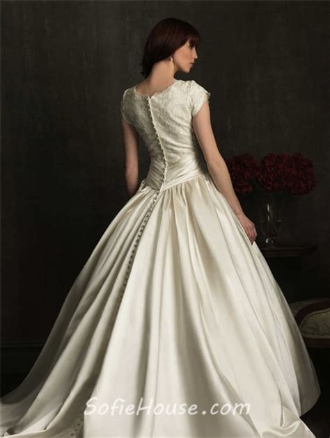 modest ball gown scoop neck cap sleeve lace satin ruched