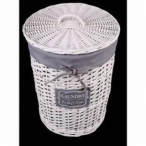 Panier À Linge En Osier : panier linge en osier tress clair et tissu gris h40cm ~ Melissatoandfro.com Idées de Décoration