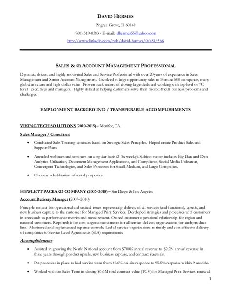 It Resume Sles 2015 by Dave Hermes Resume Sales Resume 2015