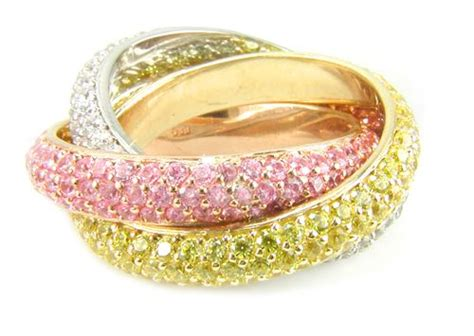 trio tri color pave cubic zirconia rolling trinity ring russian wedding ring eternity band