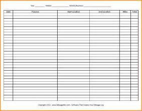 Printable Mileage Log Sheet Template