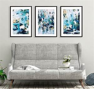 Large, Abstract, Set, Of, Three, Prints, Framed, Wall, Art, By, Abstract, House