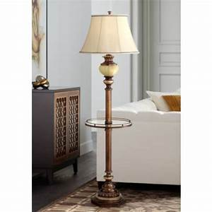 Kathy ireland hyde park floor lamp with glass tray for Wooden floor lamp ireland
