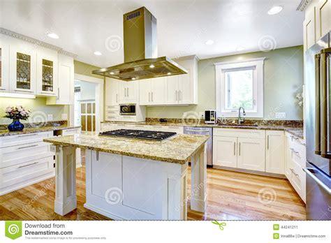 cuisine ile de île de cuisine avec le fourneau intégré le dessus de