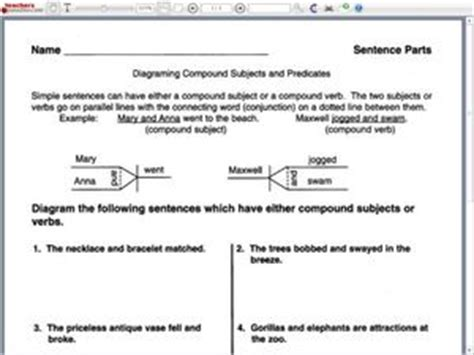 Diagramming Compound Subjects And Predicates 4th  6th Grade Worksheet  Lesson Planet