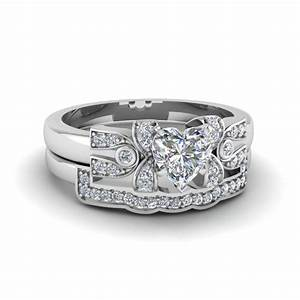 heart shaped antique pave diamond bridal set for women in With heart shaped diamond wedding ring sets